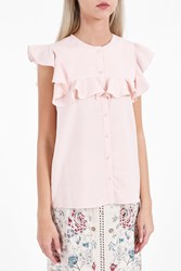 Vilshenko Women S Ruffle Stripe Button Down Top Boutique1 Pink
