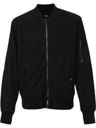 Hudson Zipped Bomber Jacket Black