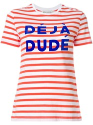 Etre Cecile Deja Dude Striped T Shirt Yellow And Orange
