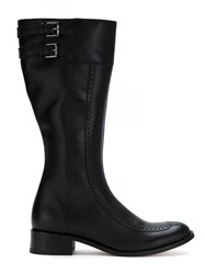 Sarah Chofakian Leather High Ankle Boots Black