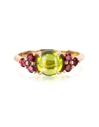 Mia And Beverly Red Sapphires And Peridot 18K Rose Gold Ring