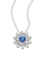 Carolee Something Blue Floral Pendant Necklace Silver