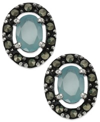Genevieve And Grace Sterling Silver Apatite Glass And Marcasite Oval Stud Earrings