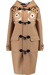 Stella Jean Montgomery Embroidered Brushed Wool Blend Hooded Coat Camel