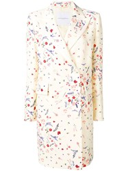 Ermanno Scervino Floral Print Double Breasted Coat White