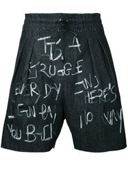 Selfmade By Gianfranco Villegas Embroidered Drawstring Shorts Men Cotton 46 Black