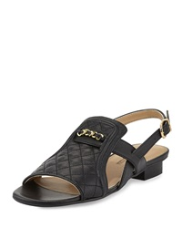 Neiman Marcus Bandele Quilted Leather Sandal Black