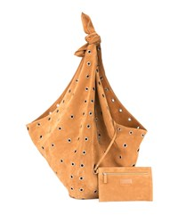 Saint Laurent Bandana Grommet Hobo Bag Beige