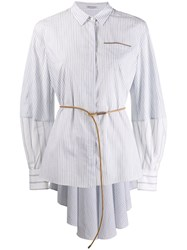 Brunello Cucinelli Belted Striped Shirt White