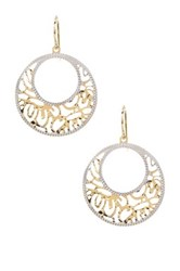 Candela 14K Yellow And White Gold Round Filigree Dangle Earrings Metallic