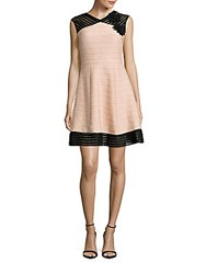Taylor Mesh Trimmed Fit And Flare Dress Pink