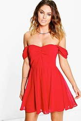 Boohoo Chiffon Off The Shoulder Skater Dress Red