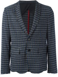 Msgm Houndstooth Plaid Blazer Grey