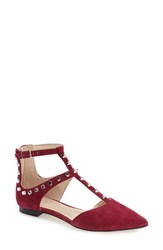 Marc Fisher Women's Ltd 'Sava' Studded T Strap Flat Berry Suede