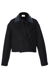 Carven Cropped Wool Jacket With Vinyl Collar Black