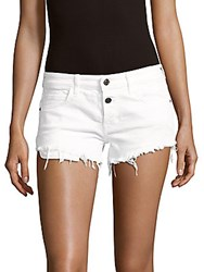 Hidden Jeans Frayed Hem Shorts Optic White