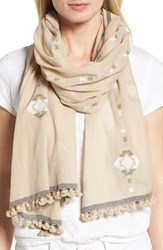 Eileen Fisher Women's Embroidered Oraganic Cotton Scarf Natural