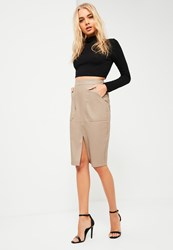Missguided Nude Faux Leather Midi Pocket Skirt Taupe