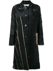 By Walid Victorian Mid Length Patchwork Coat Black