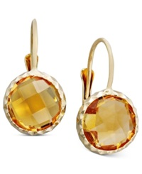 Macy's 14K Gold Earrings Bezel Set Citrine Drop 3 1 2 Ct. T.W. Orange