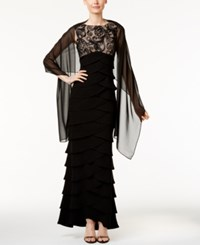Jessica Howard Illusion Tiered Empire Gown And Shawl Black