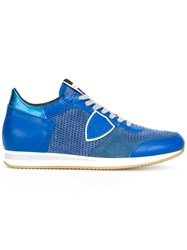Philippe Model Metallic Detailing Lace Up Sneakers Blue