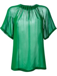 Megan Park 'Georgette' Gathered Top Green