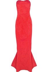 Zac Posen Strapless Jacquard Gown Red
