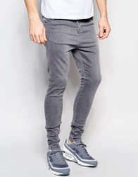 Sik Silk Siksilk Drop Crotch Skinny Jeans Light Grey