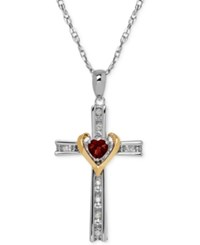 Macy's Garnet 1 3 Ct. T.W. And Diamond Accent Cross Pendant Necklace In Sterling Silver And 14K Gold