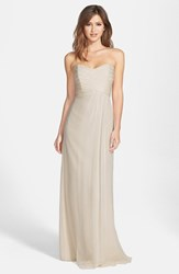 Women's Amsale Strapless Crinkle Chiffon Gown Champagne