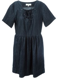 Vanessa Bruno Atha Lace Up Denim Dress Blue