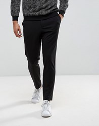 Selected Homme Tapered Cropped Jersey Trousers Black