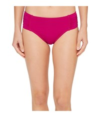 Tommy Bahama Pearl High Waist Side Shirred Bikini Bottom Wild Orchid Pink Women's Swimwear