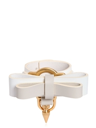 Niels Peeraer Bow Buckle Leather Bracelet White Grey