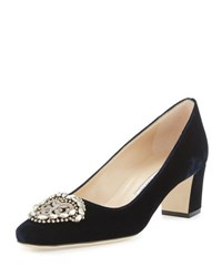 Manolo Blahnik Okkato Velvet Ornament Pump Navy