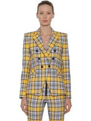 Veronica Beard Miller Check Cotton Blazer Yellow Black