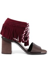See By Chloe Fringed Suede And Leather Sandals Burgundy