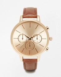 New Look Tan Faux Leather Strap Watch Brown
