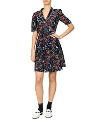 The Kooples Blue Bird Floral And Avian Print Dress Navy