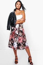 Boohoo Dark Floral Full Skater Skirt Black