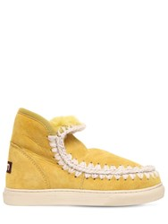 Mou 20Mm Mini Eskimo Shearling Boots Yellow