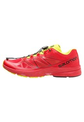 Salomon Sonic Pro Trail Running Shoes Radiant Red Gecko Green