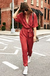 Urban Outfitters Uo Bezel Print Wrap Belted Jumpsuit Red Multi