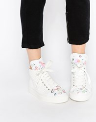 Minna Parikka Bumble White Sequin 3D Flower High Top Trainers White