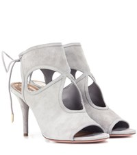 Aquazzura Sexy Thing 85 Suede Sandals Grey