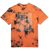 Alexander Wang Barcode Printed Tie Dyed Cotton Jersey T Shirt Orange