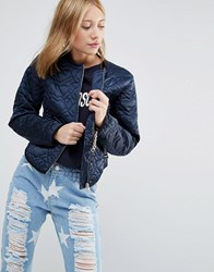 Love Moschino Quilted Heart Jacket Navy