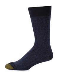 Goldtoe Regal Brocade Cotton Blend Crew Socks Peacoat