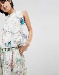 Paisie Double Layered Floral Top With Chiffon Lining Floral Print Multi